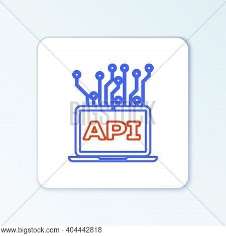 Line Computer Api Interface Icon Isolated On White Background. Application Programming Interface Api
