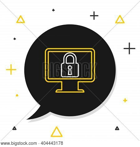 Line Lock On Computer Monitor Screen Icon Isolated On White Background. Monitor And Padlock. Securit