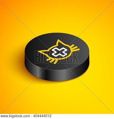 Isometric Line Veterinary Clinic Symbol Icon Isolated On Yellow Background. Cross With Cat Veterinar