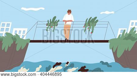 Ecological Catastrophe And Water Contamination Concept. Young Man Standing On Bridge In City Park An