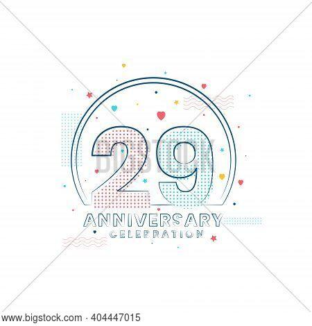 29 Years Anniversary Celebration, Modern 29 Anniversary Design Vector Illustration