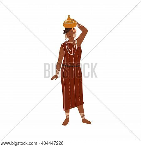 African Tribal Woman Carrying Vase Or Pitcher On Head. Young Female Member Of Aboriginal Tribe Weari