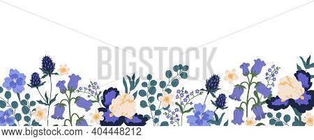 Backdrop With Border Of Spring Blooming Flowers. Bluebells, Irises, Eucalyptus, Eryngium And Forget-