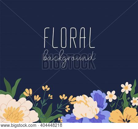 Floral Backdrop With Gorgeous Blooming Flowers And Place For Text. Peonies And Irises Border. Colorf