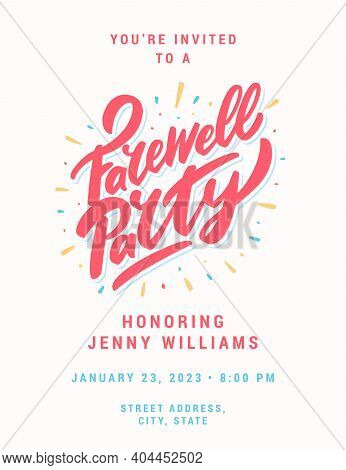 Farewell Party Invitation. Vector Lettering Banner. Vector Illustration.