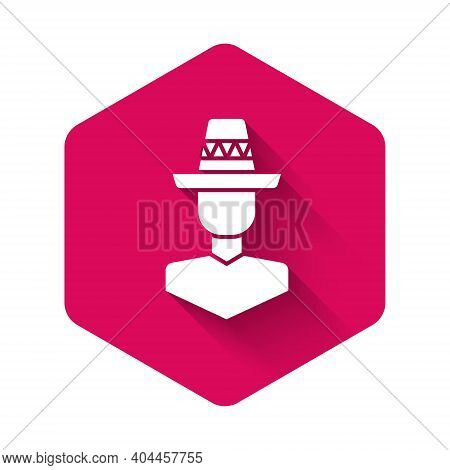 White Mexican Man Wearing Sombrero Icon Isolated With Long Shadow Background. Hispanic Man With A Mu