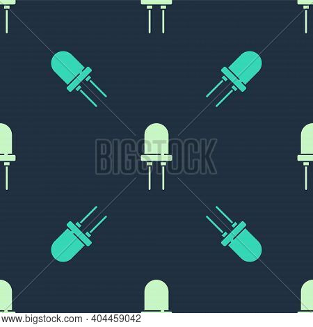 Green And Beige Light Emitting Diode Icon Isolated Seamless Pattern On Blue Background. Semiconducto