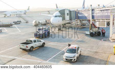 Santiago, Chile - January 11, 2018: A Airplane In Santiago De Chile International Airport. Arturo Me