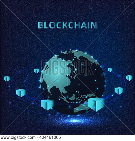 Blockchain Technology Concept. Isometric Digital Blocks Connection Vector Illustration With Connecte