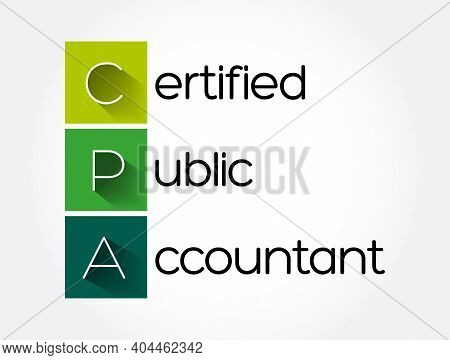 Cpa - Certified Public Accountant Acronym, Business Concept Background