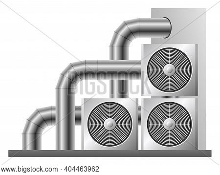 Ventilation System Pipes Roof Of Building. Ventilation System, Energy Recovery Ventilation, Airing S