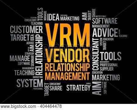 Vrm - Vendor Relationship Management Word Cloud, Business Concept Background