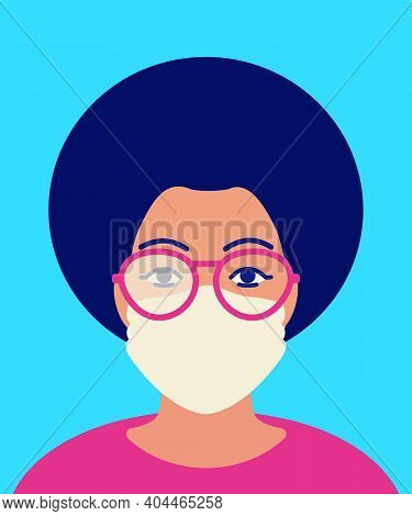African Woman In Foggy Glasses And In Protective Facial Mask. Concept Of Condensation Problem On Gla