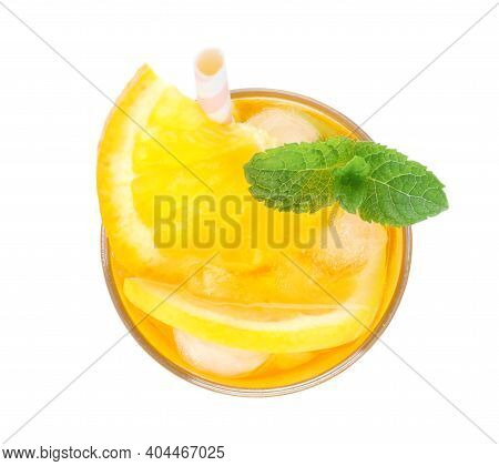 Delicious Orange Lemonade Made With Soda Water Isolated On White, Top View