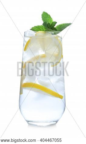 Delicious Lemonade Made With Soda Water Isolated On White