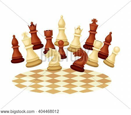Black And White Chess Piece Or Chessman Floating Above Checkered Chessboard Vector Illustration