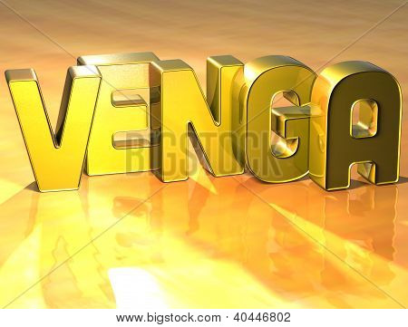 3D Word Come In Spanish Language On Yellow Background