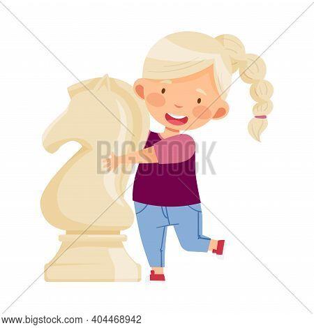 Little Girl Hugging Giant White Knight Chess Piece Or Chessman Vector Illustration