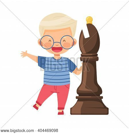 Little Boy Standing With Giant White Bishop Chess Piece Or Chessman Vector Illustration