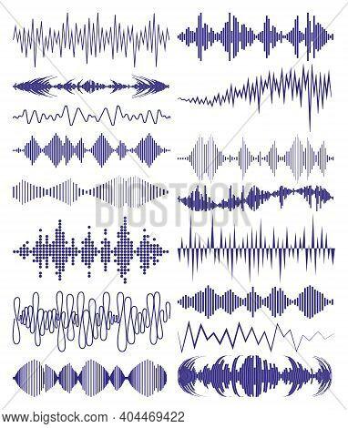 Collection With Music Waves Logo And Audio Symbols. Modern Sound Equalizer Elements Set. Digital Wav