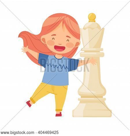 Little Girl Standing With Giant White Queen Chess Piece Or Chessman Vector Illustration