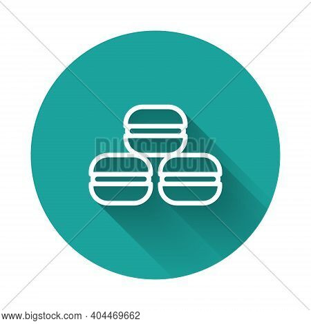 White Line Macaron Cookie Icon Isolated With Long Shadow Background. Macaroon Sweet Bakery. Green Ci