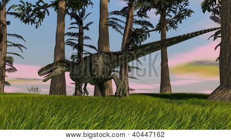 monolophosaurus in jungle poster