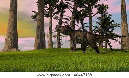 tyrannosaurus in jungle poster