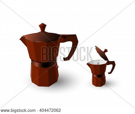 Set Of Two Geyser Coffee Makers (moka Pot) Red Wine Color With Open And Closed Red Copper Lids