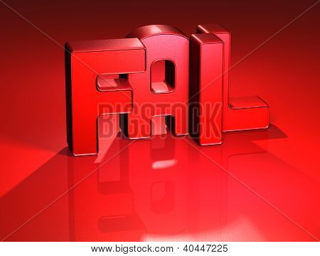 3D Word Fail On Red Background