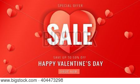 Happy Valentines Day Sale Banner With Red Paper Heart. Valentine's Day Special Offer Card Save Up 50
