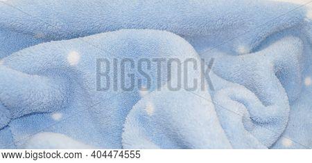 Soft Light Blue Fleece Terry Cloth For Background Close-up
