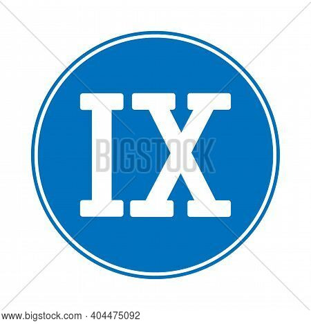 Roman Numeral Nine Button On White Background. Vector Illustration.