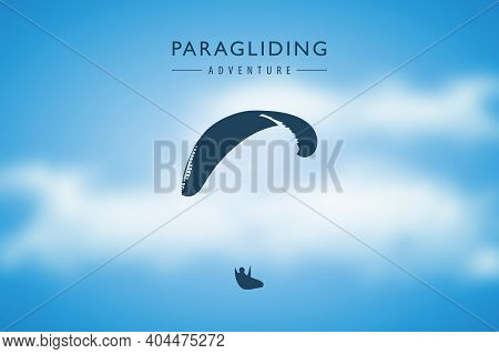 Paragliding Adventure Paraglider In Cloudy Sky Background Vector Illustration Eps10