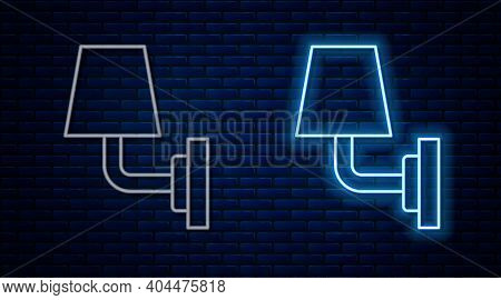 Glowing Neon Line Wall Lamp Or Sconce Icon Isolated On Brick Wall Background. Wall Lamp Light. Vecto
