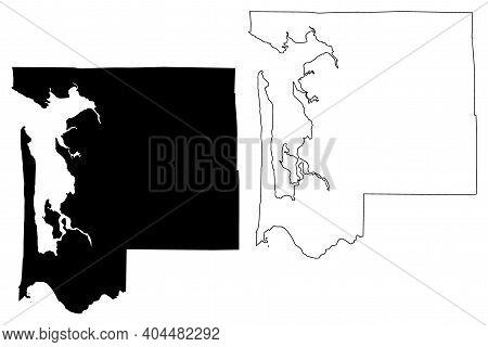 Pacific County, State Of Washington (u.s. County, United States Of America, Usa, U.s., Us) Map Vecto