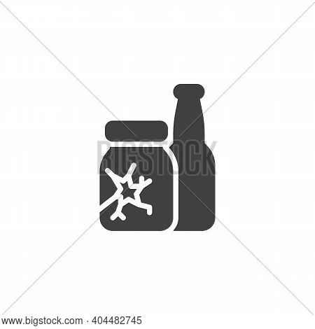 Glass Waste Vector Icon. Filled Flat Sign For Mobile Concept And Web Design. Broken Glass Bottles Gl