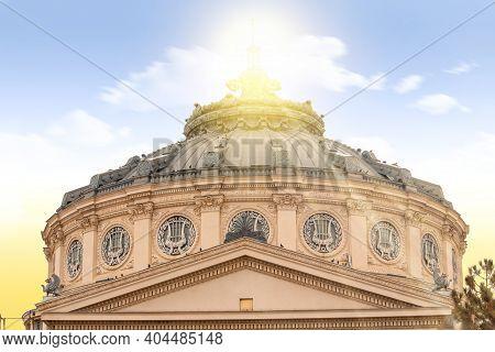 Bucharest, Romania. Romanian Athenaeum. Sunset Colors With Sunrise