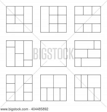 Photo Collage Set. Templates For Photo In Line Style. Empty Photo Collage. Vector