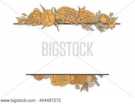 Peony, Rose, Flowers. Round Frame. Background Illustration. Hand Drawing Outline. Flowering Of Garde