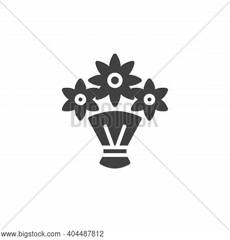 Wrapped Flower Bouquet Vector Icon. Filled Flat Sign For Mobile Concept And Web Design. Flower Bouqu