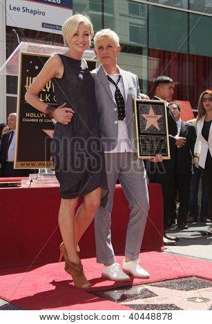 LOS ANGELES - AUG 03:  Ellen Degeneres & Portia De Rossi arriving to Walk of Fame - ELLEN DEGENERES  on August 03, 2012 in Hollywood, CA