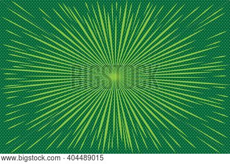 Pop Art Green Background With Radial Rays.  Background With Halftones For Comics. Textured Backgroun