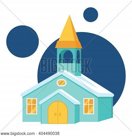 Colorful Cartoon Winter Town Hall. Small Town Building. Vector Illustration For Icon, Site Label, Gi