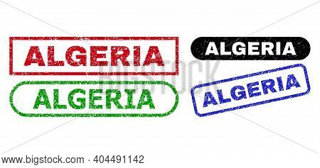 Algeria Grunge Stamps. Flat Vector Grunge Stamps With Algeria Caption Inside Different Rectangle And