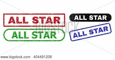 All Star Grunge Watermarks. Flat Vector Scratched Watermarks With All Star Text Inside Different Rec