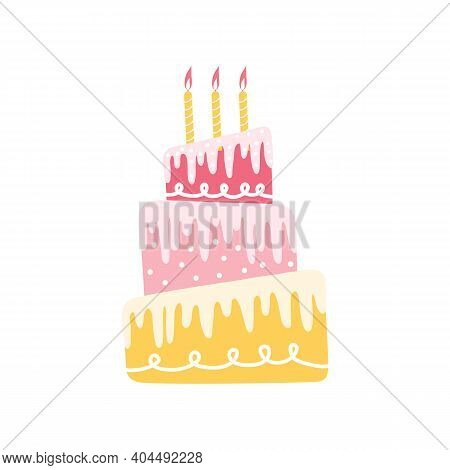 Happy Holiday Cream Cake With Three Tiers. Decorated Birthday Cake With Burning Candles Isolated On