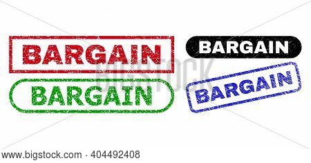 Bargain Grunge Seals. Flat Vector Grunge Seals With Bargain Tag Inside Different Rectangle And Round