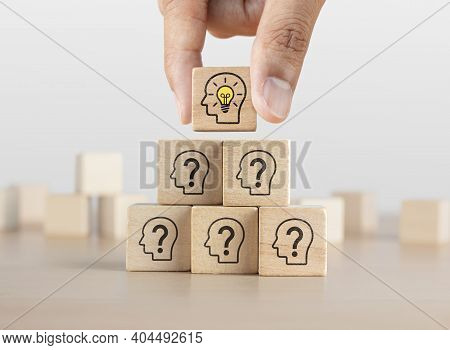 Problem Solving, Creative Idea Or Innovative Idea Concept. Wooden Blocks With Question Mark Head Ico