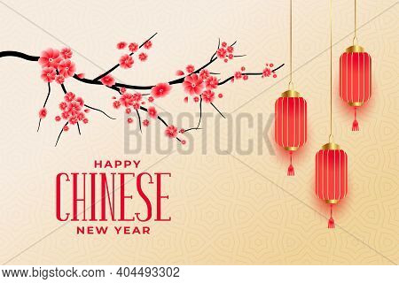 Happy Chinese New Year Greetings With Sakura Flowers And Lanterns Vector